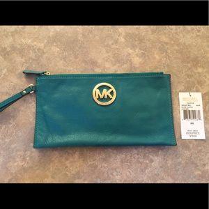 Michael Kors Teal Large Leather Fulton Zip Clutch